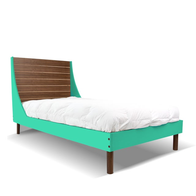 Contemporary Minimo Twin Panel Bed in Walnut With Mint Finish For Sale - Image 3 of 3