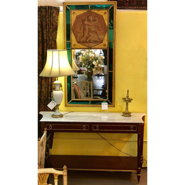 Pair Marble Top Russian Neoclassical Consoles W Concave Sides & Bronze Mounts For Sale - Image 4 of 12