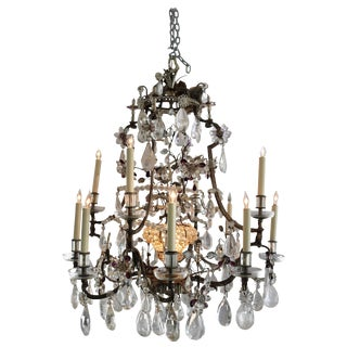 Louis XV Rock Crystal Chandelier by Maison Bagues Lighting in Paris For Sale