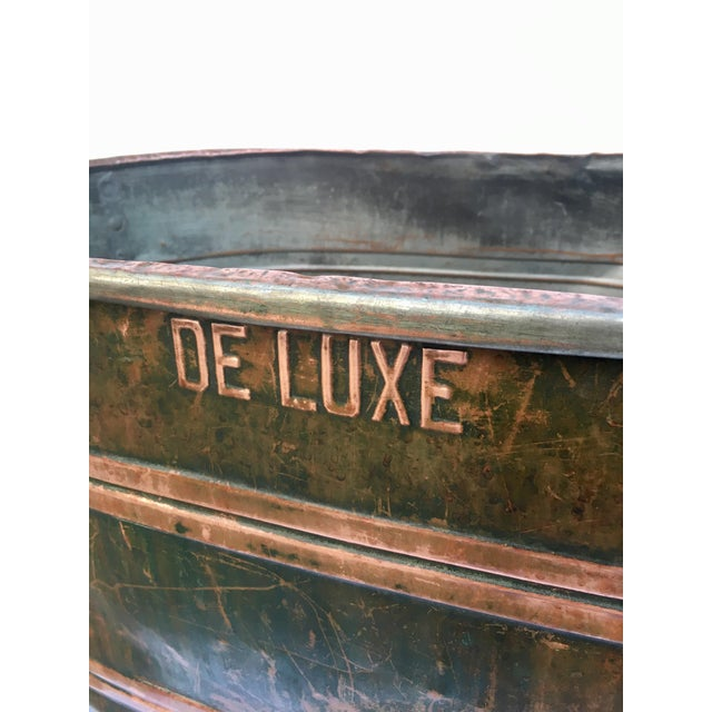Large late 19th century copper boiler wash bin with amazing patina. This tub would have been used to wash clothing or...