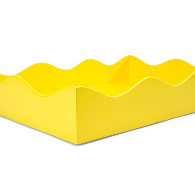 Contemporary Rita Konig Collection Large Belles Rives Tray in Citron Yellow For Sale - Image 3 of 4