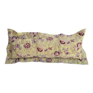 Quilted Floral Flange Pillow For Sale