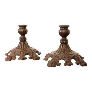 19th Century Victorian Cast Iron Candlesticks / Candle Holders - a Pair For Sale