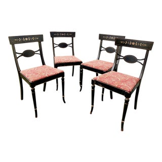 W. J. Sloane Regency Style Black Stenciled Dining Chairs - Set of 4 For Sale