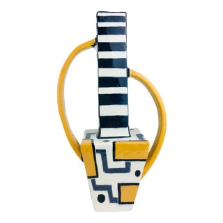 1980s Op Art Post Modern Memphis Era Art Pottery Vase For Sale