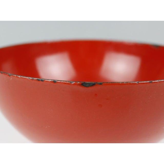 l Finland Red Enamel Bowl Kaj Franck Mid Century Modern For Sale In New York - Image 6 of 8