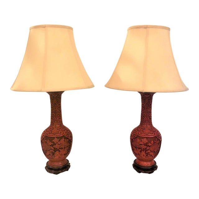 Pair Antique Late 19th Century Chinese Cinnabar Lamps. For Sale