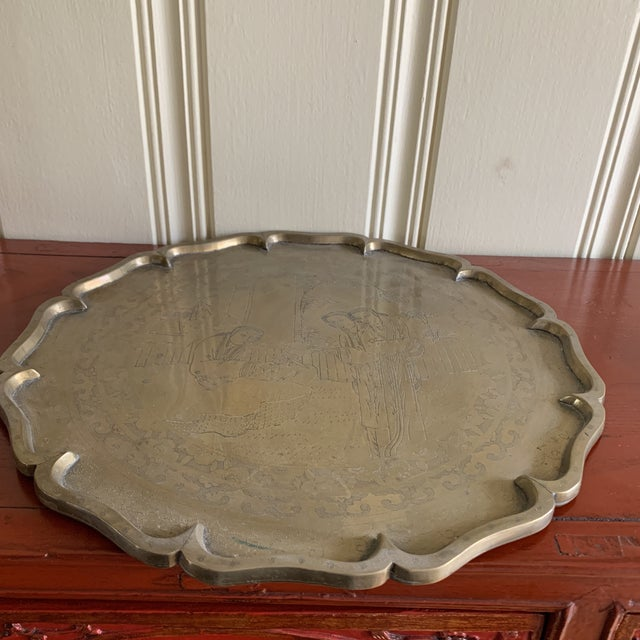 Midcentury Asian Chinoiserie Brass Etched Tray For Sale - Image 12 of 13