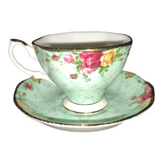 Peppermint Damask Tea Cup and Saucer - 2 Pieces For Sale