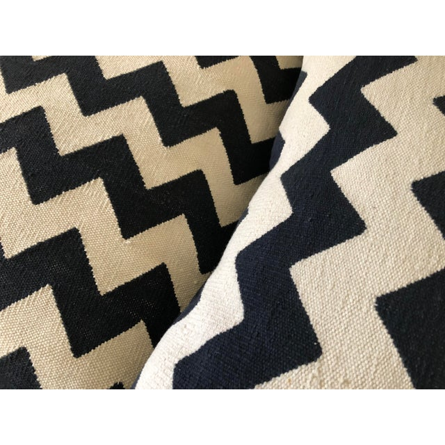 Black Madeline Weinrib Black Chevron Block Print Pillows - A Pair For Sale - Image 8 of 10