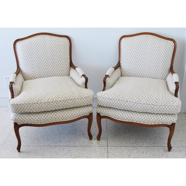 Vintage French-Style Newly Upholstered Bergere Chairs - Pair For Sale - Image 12 of 13