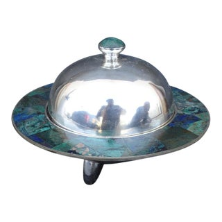 Mid 20th Century Los Castillo Silver Plate and Inlaid Lapis and Malachite Covered Dish For Sale