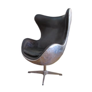 Vintage Four Hands Arne Jacobsen Style Aluminum Egg Swivel Chair For Sale