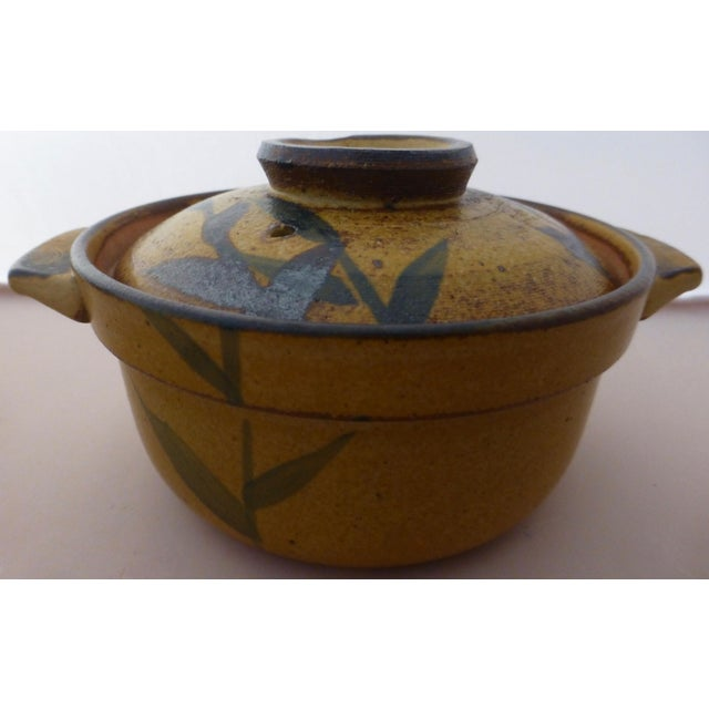 Yellow Chinoiserie Inspired Studio Pottery Covered Soup Bowls ~ Set of Five For Sale - Image 8 of 13