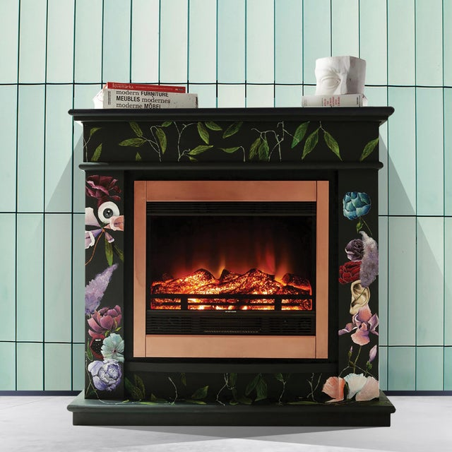 Oil Paint The One Who Swallowed the Universe, Hand-Painted Electric Fireplace by Atelier Miru For Sale - Image 7 of 7