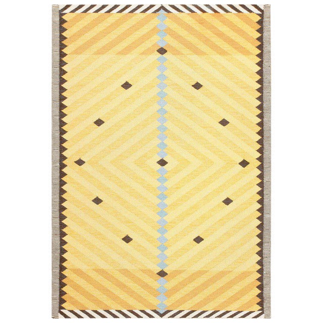 Vintage Scandinavian Yellow and Gold Rug - 5′5″ × 7′9″ For Sale