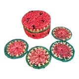 Image of 1960s Straw Watermelon Coasters in Box - Set of 4 For Sale