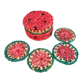 1960s Straw Watermelon Coasters in Box - Set of 4 For Sale