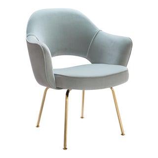 Original Vintage Saarinen Executive Arm Chairs Restored in Celadon Velvet, Custom 24k Gold Edition For Sale