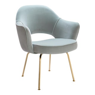 Saarinen Executive Arm Chairs in Celadon Velvet, 24k Gold Edition For Sale