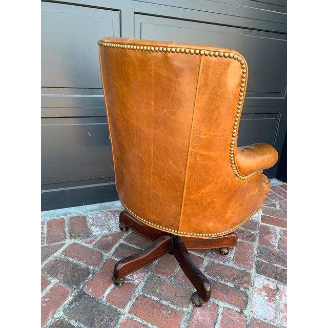 Leather Late 20th Century Retro Tufted Leather Desk Chair For Sale - Image 7 of 8