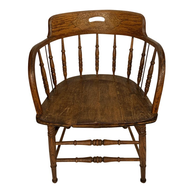 Antique Oak Captain's Chair For Sale