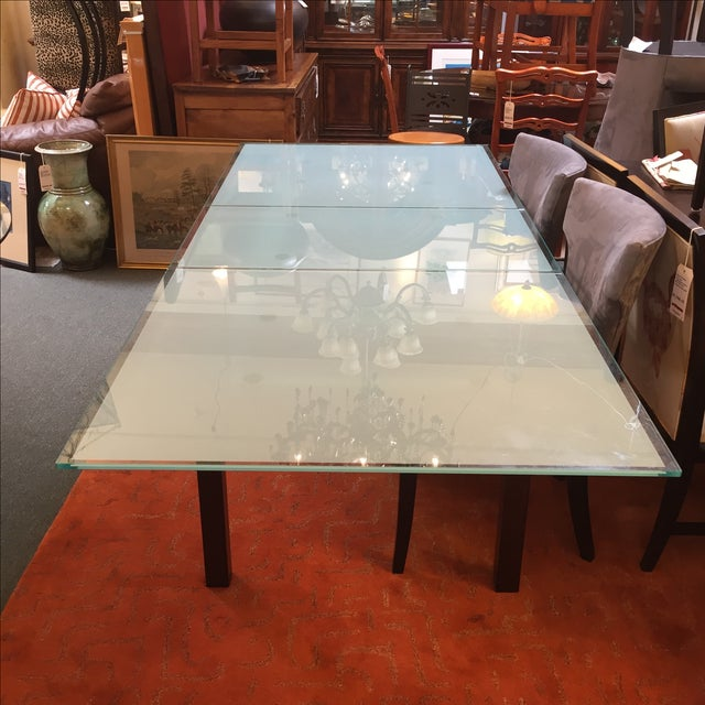 Calligaris Sandblasted Glass Extension Table - Image 4 of 9