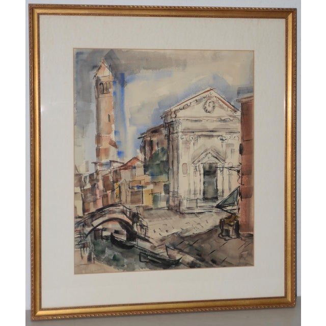 1950s European Street Scene Original Watercolor Painting by Riva Helfond For Sale - Image 9 of 9