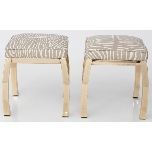Gold Pair of Le Zebre Upholstered Brass Benches For Sale - Image 8 of 8