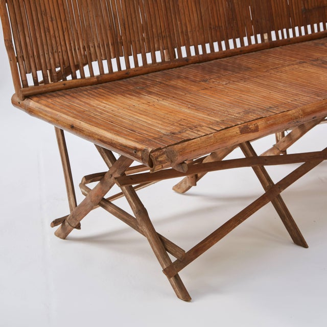 1920s English Bamboo Slatted Country Bench For Sale In Los Angeles - Image 6 of 7