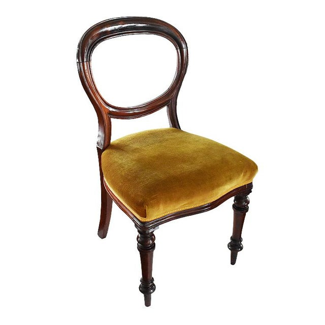 1970s Vintage Mahogany Yellow Velvet Louis XVI Victorian Side or Dining Chairs- Set of 4 For Sale - Image 9 of 11