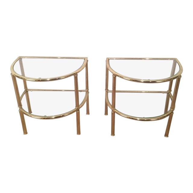 Pair of French Demi Lune Shaped Brass Side Tables For Sale