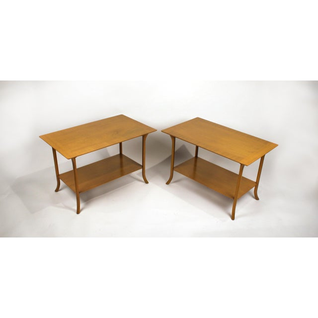 t.h. Robsjohn Gibbings Bleached Mahogany Sabre Leg Side Tables for Widdicomb - A Pair For Sale - Image 9 of 9