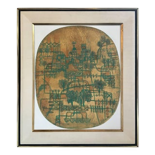 Abstract Cityscape Chinese Modernist Painting by Heshi Yu, Signed For Sale