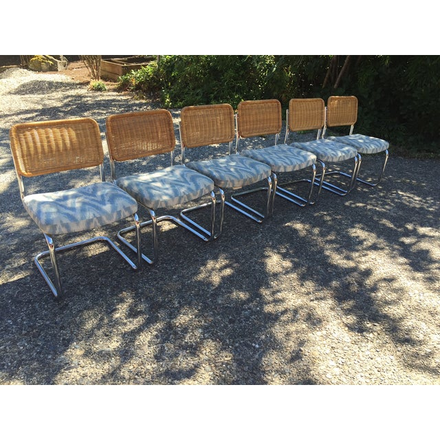 Chrome & Rattan Cantilevered Dining Chairs - 6 - Image 2 of 6