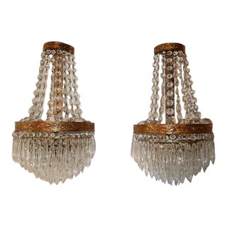 French Empire Seven Tiers Crystal Prism Sconces, Circa 1930 For Sale