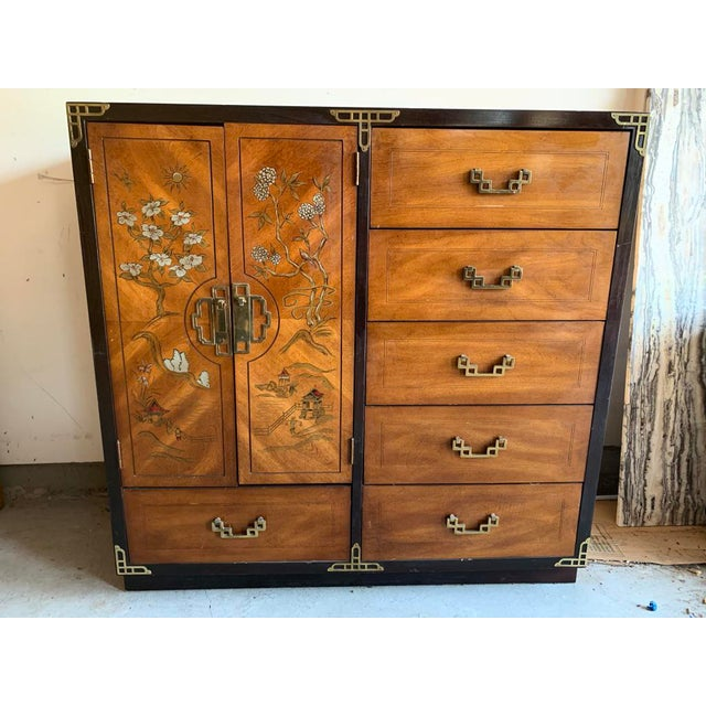 Gold Bassett Furniture Asian Inspired Chinoiserie Chest of Drawers For Sale - Image 8 of 8