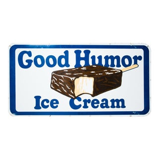 """""""Good Humor Ice Cream"""" Mid Century, Enamel on Steel Advertising Trade Sign Chocolate Covered Vanilla Popsicle (Rectangular -Blue, White & Brown) For Sale"""