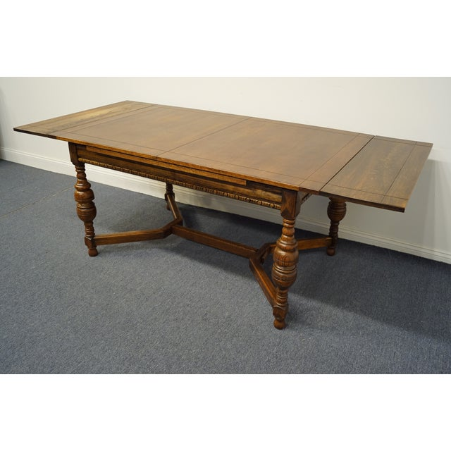 """Vintage Antique Oak English Revival Gothic Jacobean 84"""" Draw Leaf Dining Table For Sale In Kansas City - Image 6 of 11"""