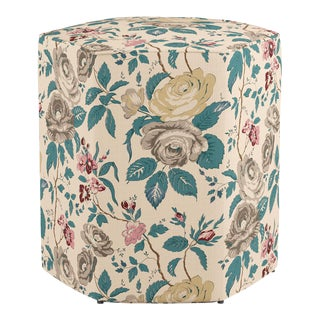 Hexagonal Ottoman in Taupe Chintz For Sale