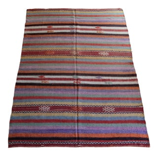 1960s Handmade Striped Design Kilim For Sale