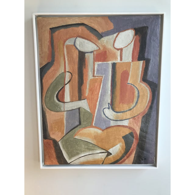 "Canvas Rare! Gorgeous! 20th Century Abstract ""Two Figures"" Oil on Canvas Painting by Maurice Cloud For Sale - Image 7 of 8"
