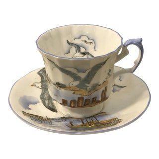 1940s Elizabethan Fine Bone China England Seagull Boat Dock Seascape Tea Cup and Saucer For Sale