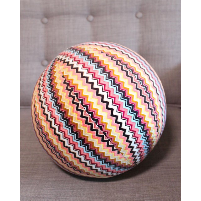 """Abstract Vintage Missoni Chevron Pattern Ball Pillow 8"""" For Sale - Image 3 of 6"""
