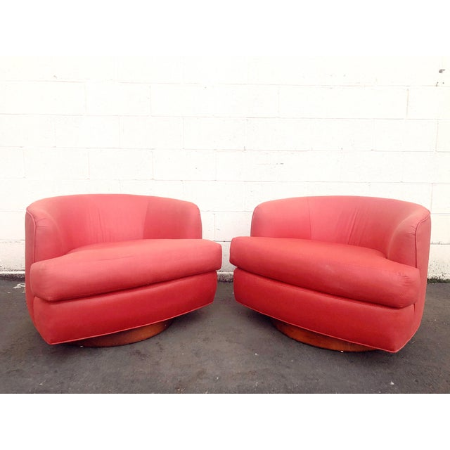Vintage Milo Baughman Style Custom Swivel Chairs in Original Coral Fabric - a Pair For Sale - Image 11 of 11