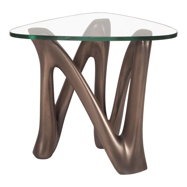 Amorph Ronia Dark Bronze Side Table With Glass Top For Sale