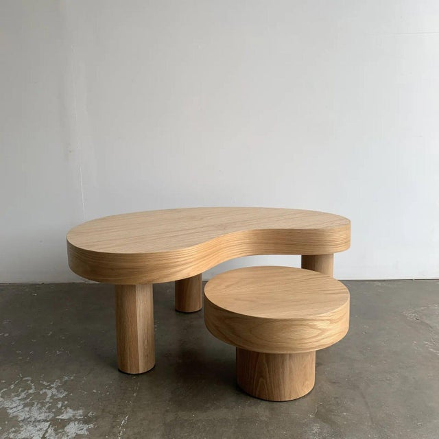 Tan Contemporary Kidney Two Tiered Coffee Table - A Pair For Sale - Image 8 of 13