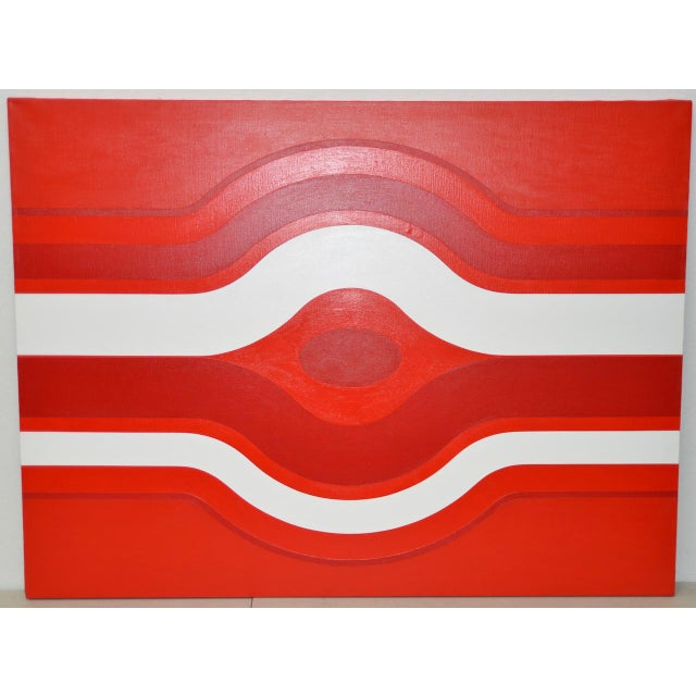 Red Vintage Red & White Op-Art Painting by Charles Hersey C.1970s For Sale - Image 8 of 8