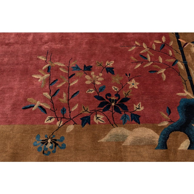 Early 20th Century Antique Art Deco Chinese Red Wool Rug For Sale - Image 9 of 13