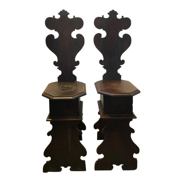 Set of Two 17th C. Antique Decorative Italian Altar Chairs For Sale